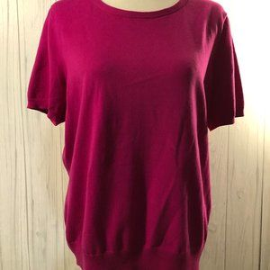 Lands End Short Sleeve Magenta Blouse Size Large